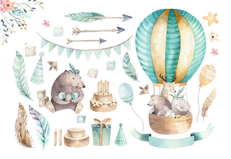 Cute baby nursery on balloon isolated illustration for children. Bohemian watercolor bohemian bear, cat hipo and deer drawing, watercolour image. Perfect for nursery posters, baby shower, patterns. Birthday boho invitation Foto de archivo