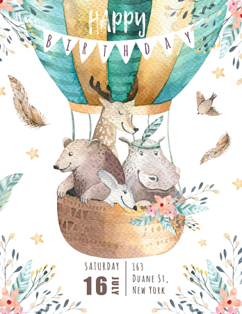 Cute baby nursery on balloon isolated illustration for children. Bohemian watercolor bohemian bear, cat hipo and deer drawing, watercolour image. Perfect for nursery posters, baby shower, patterns. Birthday boho invitation Standard-Bild