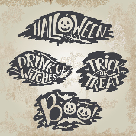 Happy Halloween Calligraphy backgrounds. Vector Halloween banner signs. Halloween lettering holiday hignt. Bat silhouette horror text. moonlight tree. Trick or Treat ,boo, witches Illustration