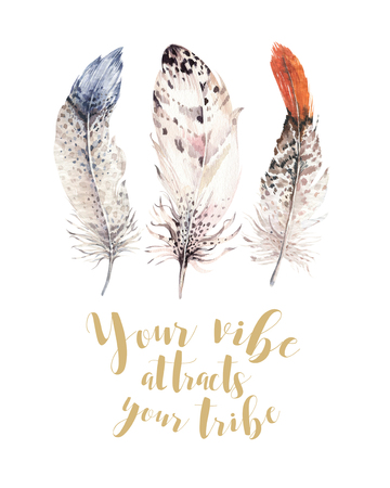 Hand drawn watercolor paintings vibrant feather set. Boho style wings. illustration isolated on white. Bird fly design for T-shirt, invitation, wedding card. Rustic Owl decoration Stock Photo