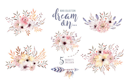 Set of watercolor boho floral bouquets. Watercolour bohemian natural frame: leaves, feathers, flowers, Isolated on white background. Artistic decoration illustration.