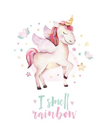 Isolated cute watercolor unicorn kids poster. Nursery unicorns illustration. Princess unicorns drawing. Trendy pink cartoon magic horse.
