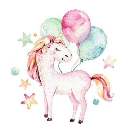 Clipart aislado lindo del unicornio de la acuarela. Ilustración de unicornios de guardería. Princesa arco iris unicornios cartel. Moda caballo de dibujos animados de color rosa.