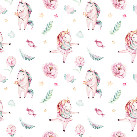 Isolated cute watercolor unicorn pattern. Nursery magic unicorns aquarelle. Princess miracle unicorns collection. Trendy pink cartoon horse. Imagens - 87333269
