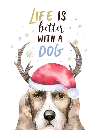 Watercolor closeup merry christmas portrait of cute dog. Isolated on white background. Hand drawn sweet home new year pet. Greeting card nursary design