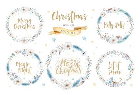 Merry Christmas aquarel kaarten met bloemen elementen. Gelukkig Nieuwjaar belettering posters. Winter xmas bloem en tak krans decoratie. Stockfoto