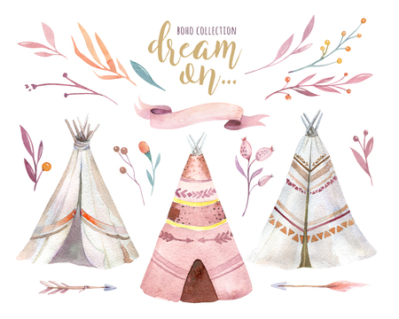 Hand drawn watercolor tribal teepee, isolated white campsite tent. Boho America traditional native ornament wigwam. Indian bohemian decoration tee-pee with arrows and feathers