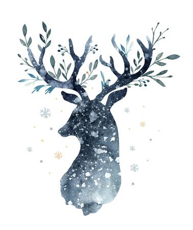 Aquarel close-up portret van schattige herten. Geïsoleerd op witte achtergrond Hand getrokken Kerstmis illustratie. Wenskaart dierlijke winter ontwerp decoratie