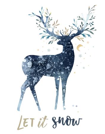 Aquarellnahaufnahmeporträt von netten Rotwild. Isoliert auf weißem hintergrund Hand gezeichnete Weihnachtsillustration. Grußkartentierwinter-Designdekoration