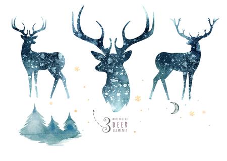 Aquarellnahaufnahmeporträt von blauen Rotwild. Getrennt auf weißem Hintergrund. Hand gezeichnete Weihnachtsindigoillustration. Grußkarte Tier Winter Design Dekoration Standard-Bild