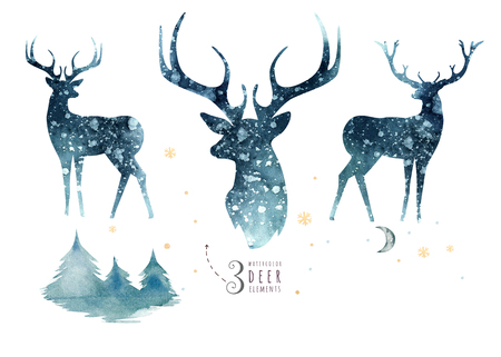 Watercolor closeup portrait of blue deer. Isolated on white background. Hand drawn christmas indigo illustration. Greeting card animal winter design decoration Фото со стока