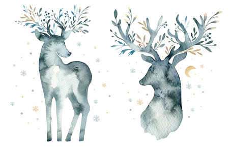 Watercolor closeup portrait of cute deer. Isolated on white background. Hand drawn christmas illustration. Greeting card animal winter design decoration Imagens - 91334171