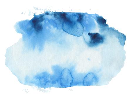 青い水彩形状。藍紙のテクスチャです。水彩紙