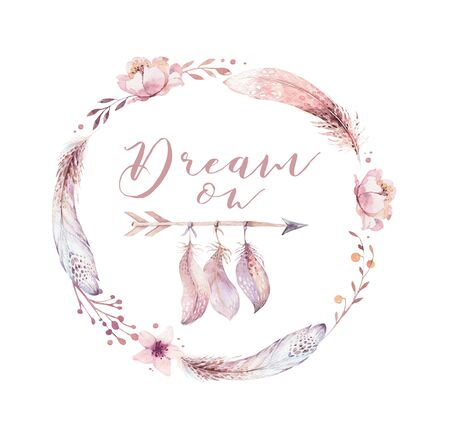 Hand drawn watercolor paintings vibrant feather wreath. Boho style rose wings. illustration isolated on white. Bird fly design for T-shirt, invitation, wedding card. Banco de Imagens