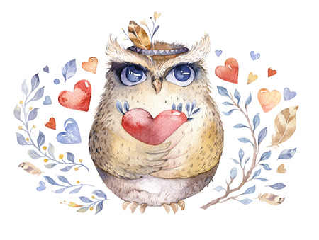 I love you. Lovely watercolor illustration with sweet owls, hearts and flowers in awesome colors. Stunning romantic valentines day owl card made in watercolor technique. Bright Valentines isolated design with love.