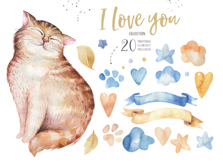 Watercolor cute isolated cat ilustration. Love cartoon cats character for valentines card. Nursary art design. Imagens