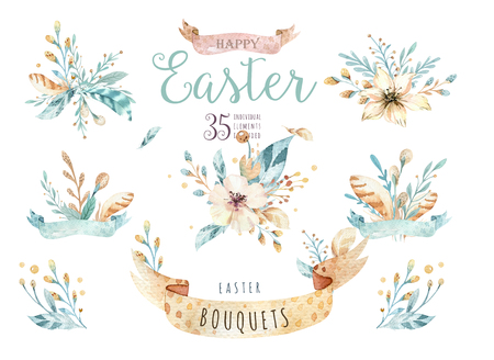 Watercolor flowers bouquets set with feathers. Watercolour color organic feather design print. Isolated illustration with hand drawn chic element. Floral foliage