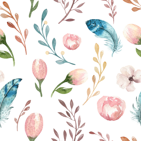 Seamless boho watercolor wallpaper with blossom flowers and leaves, spring nature illustration. vintage Design for bohemian invitation, wedding or greeting cards Stok Fotoğraf