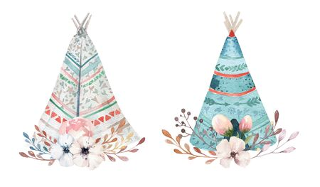 Hand drawn watercolor tribal teepee, isolated white campsite tent. Boho America traditional wigwam native ornament. Indian tee-pee with arrows and feathers Stock Photo