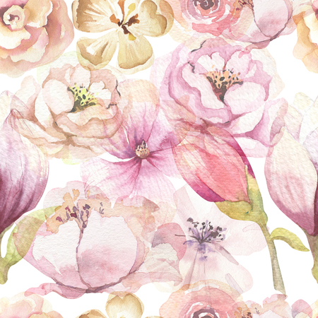 Seamless boho pattern with large watercolor flowers by peonies. Blossom bohemian floral spring backgraund decoration. Pink rose painting fabric