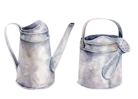 Watercolor vintage gardening tools rusty tin watering can for watering flowers. Hand drawn isolated illustration on white . Retro Flower bouquets