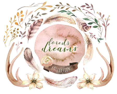 Watercolor boho floral set. Bohemian natural frame: leaves, feathers, flowers, Isolated on white background. Artistic decoration wreath illustration. Save the date, weddign design