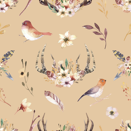 Tribal seamless pattern of watercolor floral boho antler print. western boho decoration. Hand drawn vintage deer horns with flowers, leaves and herbs. Eco style hipster 免版税图像