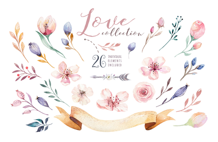 Watercolor boho floral set. Bohemian natural frame: leaves, feathers, flowers, bouquet. Isolated on white background. Decoration wreath illustration. Save the date, weddign design
