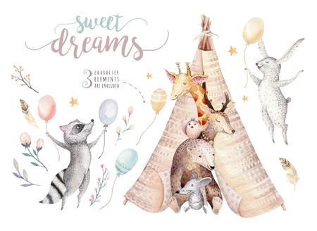 Girafe de bébé mignon, souris de crèche d'animaux de cerf et ours, raton laveur et lapin isolé illustration pour les enfants. Invitation de tipi d'anniversaire de dessin animé de forêt de boho aquarelle Banque d'images