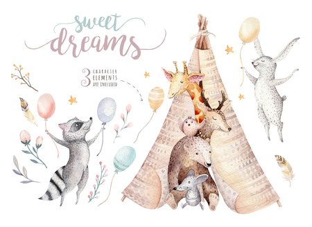 Cute baby giraffe, deer animal nursery mouse and bear, raccoon and bunny isolated illustration for children. Watercolor boho forest cartoon Birthday patry teepee invitation
