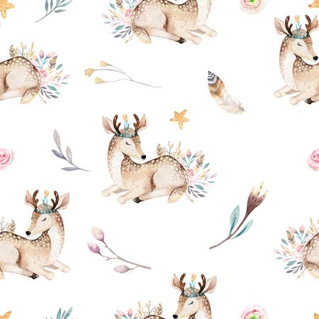 Cute family baby raccon, deer and bunny. animal nursery giraffe, and bear isolated illustration. Watercolor boho raccon drawing nursery seamless pattern. Kids background, nursery print 写真素材