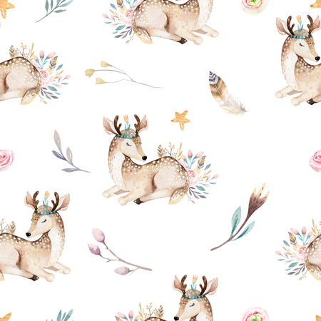 Cute family baby raccon, deer and bunny. animal nursery giraffe, and bear isolated illustration. Watercolor boho raccon drawing nursery seamless pattern. Kids background, nursery print Reklamní fotografie
