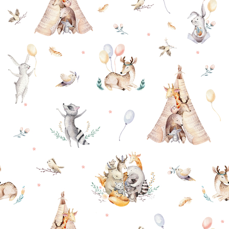 Cute family baby raccon, deer and bunny. animal nursery giraffe, and bear isolated illustration. Watercolor boho raccon drawing nursery seamless pattern. Kids background, nursery print Stockfoto