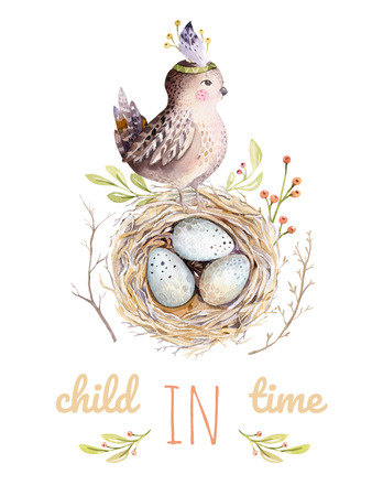 Hand drawing easter watercolor flying cartoon bird and eggs with leaves, branches and feathers. Watercolour spring art illustration in vintage boho style. Greeting bohemian cars. Stock Photo