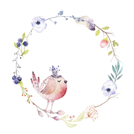 Watercolor boho floral wreath. Bohemian natural frame: leaves, feathers, flowers, Isolated on white background. Artistic decoration illustration.