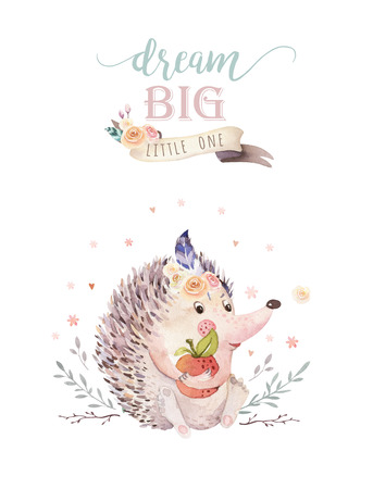 Cute watercolor bohemian baby hedgehog animal poster for nursary with bouquets, alphabet woodland isolated forest illustration for children. Baby shower animals invitation
