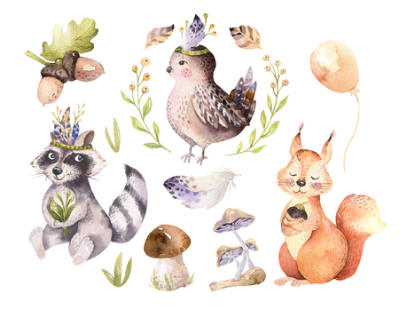 Cute watercolor bohemian baby cartoon hedgehog, squirrel and moose animal for nursary, woodland isolated forest illustration for children. Bunnies animals. Foto de archivo - 99064492