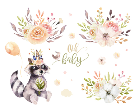 Cute watercolor bohemian baby raccoon animal poster for nursary with bouquets, children alphabet woodland isolated forest illustration. Baby shower animals invitation 写真素材