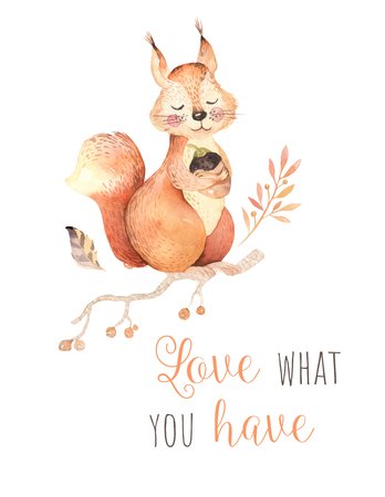 Cute watercolor bohemian baby squirrel animal poster for nursary, alphabet woodland isolated forest illustration for children. Baby shower animals invitation Foto de archivo - 99064630