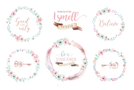 Watercolor boho floral wreath. Bohemian natural frame: leaves, feathers, flowers, Isolated on white background. Artistic decoration illustration. Save the date, weddign design, valentines day Foto de archivo - 100185723