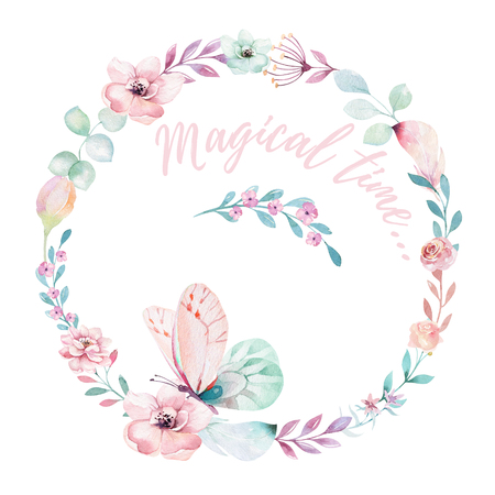 Watercolor boho floral wreath. Bohemian natural frame: leaves, feathers, flowers, Isolated on white background. Artistic decoration illustration. Save the date, weddign design, valentines day