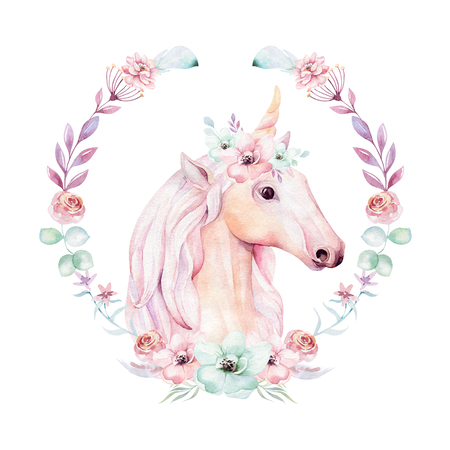 Na białym tle ładny akwarela jednorożca clipart z kwiatami. Ilustracja jednorożce przedszkola. Plakat tęczy księżniczki. Modny różowy koń kreskówka kucyk. Zdjęcie Seryjne