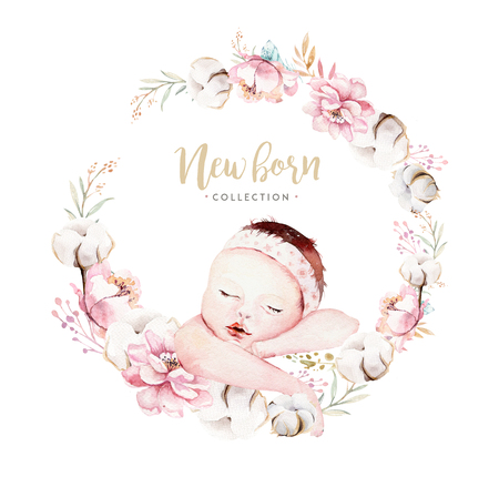 Cute newborn watercolor baby. New born child illustration girl and boy painting. Baby shower isolated birthday painting card. Stock Illustration - 102416359