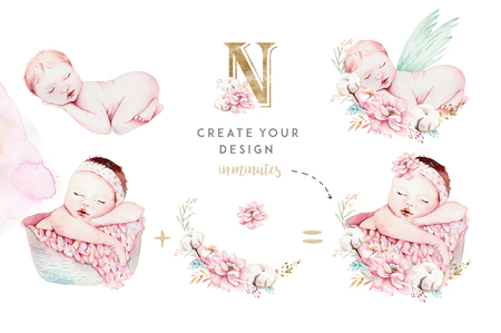Lindo bebé recién nacido acuarela. Pintura de niña y niño de ilustración de niño recién nacido. Tarjeta de pintura de cumpleaños aislada de ducha de bebé.