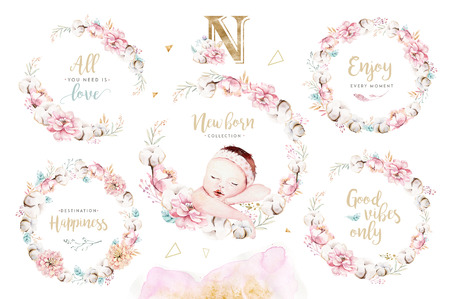 Cute newborn watercolor baby. New born child illustration girl and boy painting. Baby shower isolated birthday painting card.