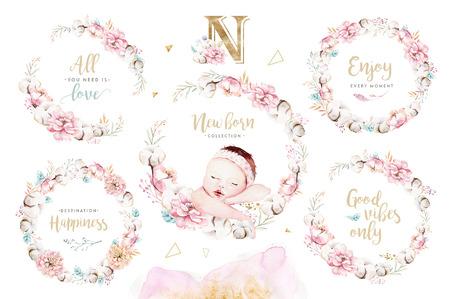 Bébé aquarelle nouveau-né mignon. Nouveau né enfant illustration fille et garçon peinture. Carte de peinture d'anniversaire isolée de douche de bébé.