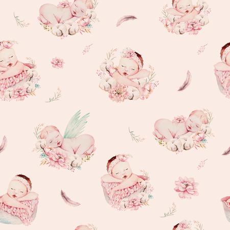 Cute Newborn Watercolor Baby Pattern New Born Dream Sleeping Magnificent Boy Patterns