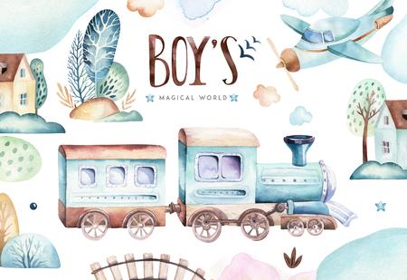 Mundo de los bebés varones. Ilustración acuarela de locomotora de avión y vagón de dibujos animados. Cumpleaños infantil conjunto de avión y vehículo aéreo, elementos de transporte. tarjeta de baby shower aislada Foto de archivo