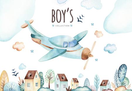 아기 소년 세계. 만화 비행기와 마차 기관차 수채화 그림. 비행기, 항공 차량, 수송 요소의 아이 생일 세트. 격리 된 베이비 샤워 카드