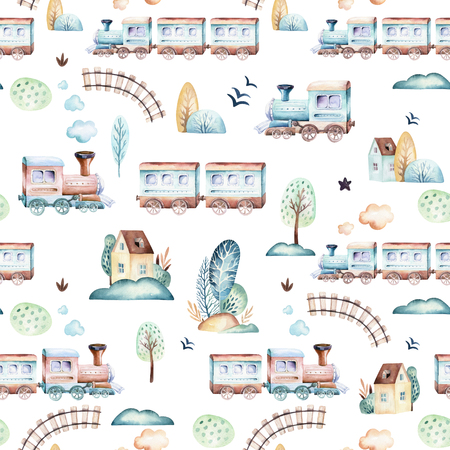 Baby boys world. Cartoon airplane, plane and waggon locomotive watercolor illustration pattern. Child toys birthday backgraund transport elements seamless patterns Foto de archivo - 103125498